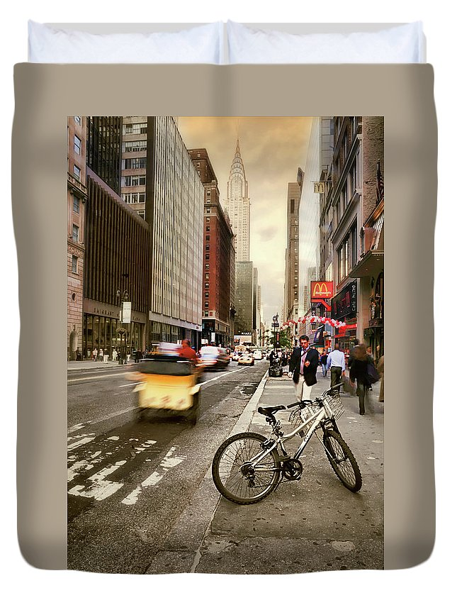 Nyc Duvet Cover featuring the photograph Peddle It Manhattan by Diana Angstadt
