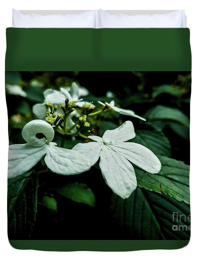 Macro Duvet Cover featuring the photograph Petalling Wares by James Aiken