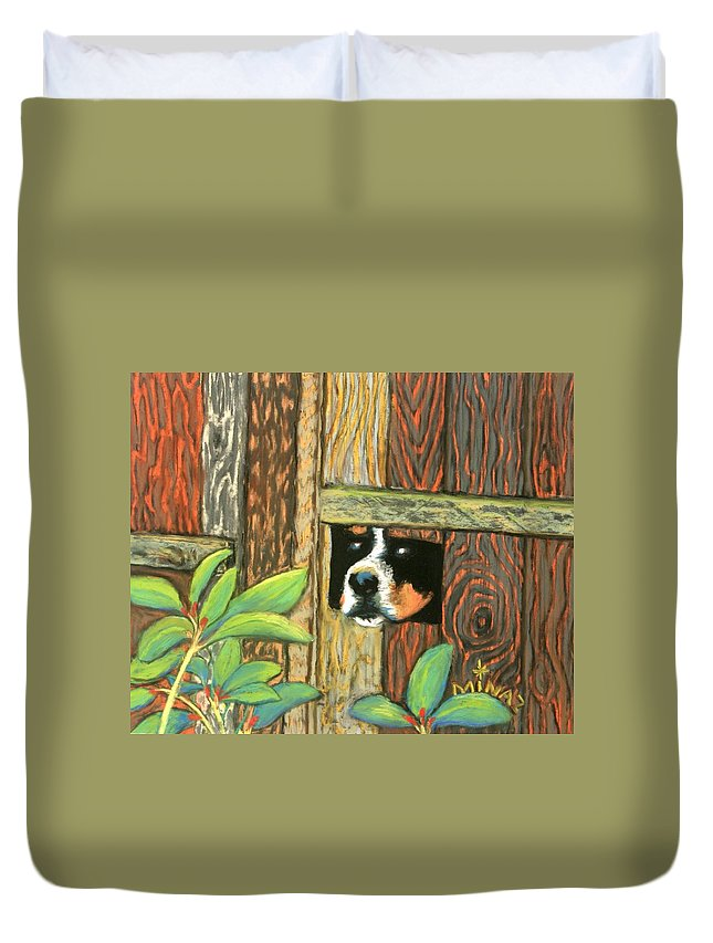 Dog Duvet Cover featuring the painting Peek-a-boo Fence by Minaz Jantz