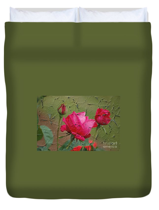 Rose Duvet Cover featuring the digital art Peeling Rose by Donna Bentley