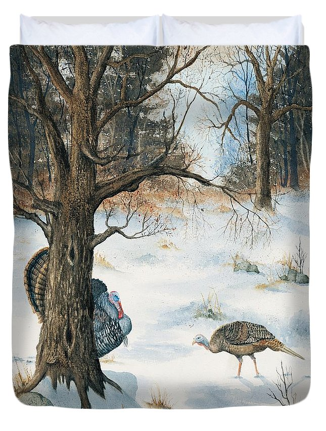 Turkey Duvet Cover featuring the painting Peeping Tom by Mary Tuomi