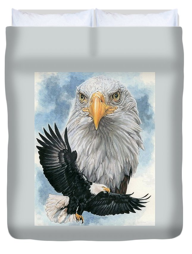 Bald Eagle Duvet Cover featuring the mixed media Peerless by Barbara Keith