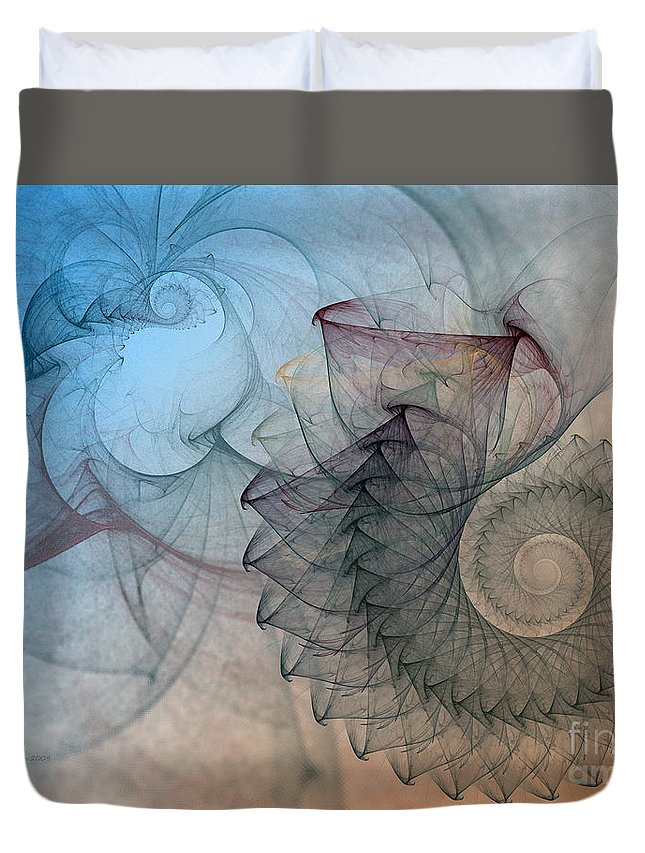 Abstract Duvet Cover featuring the digital art Pefect Spiral by Karin Kuhlmann
