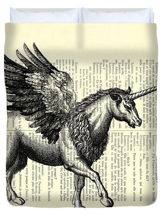 Pegasus Duvet Cover featuring the digital art Pegasus Black And White by Madame Memento