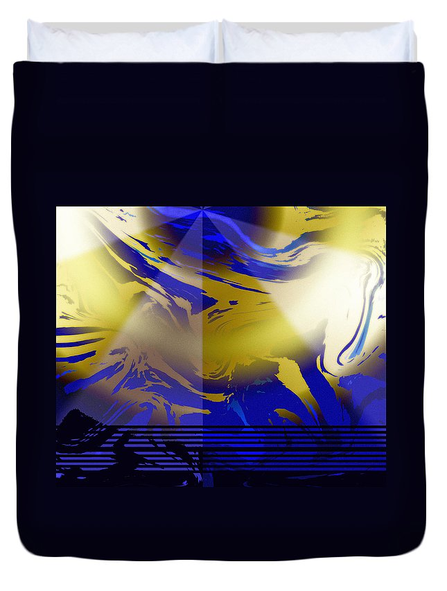 Abstract Duvet Cover featuring the digital art Pegasus From Above by Ian MacDonald