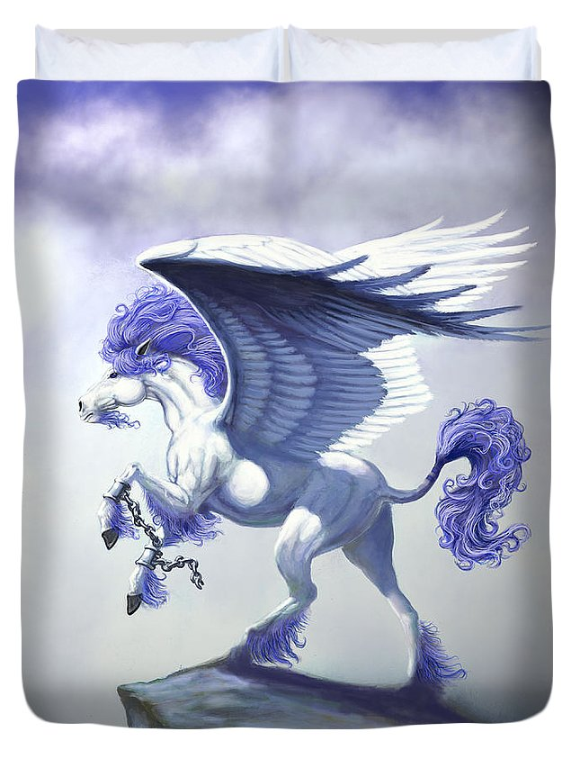 Pegasus.fantasy Duvet Cover featuring the digital art Pegasus Unchained by Stanley Morrison