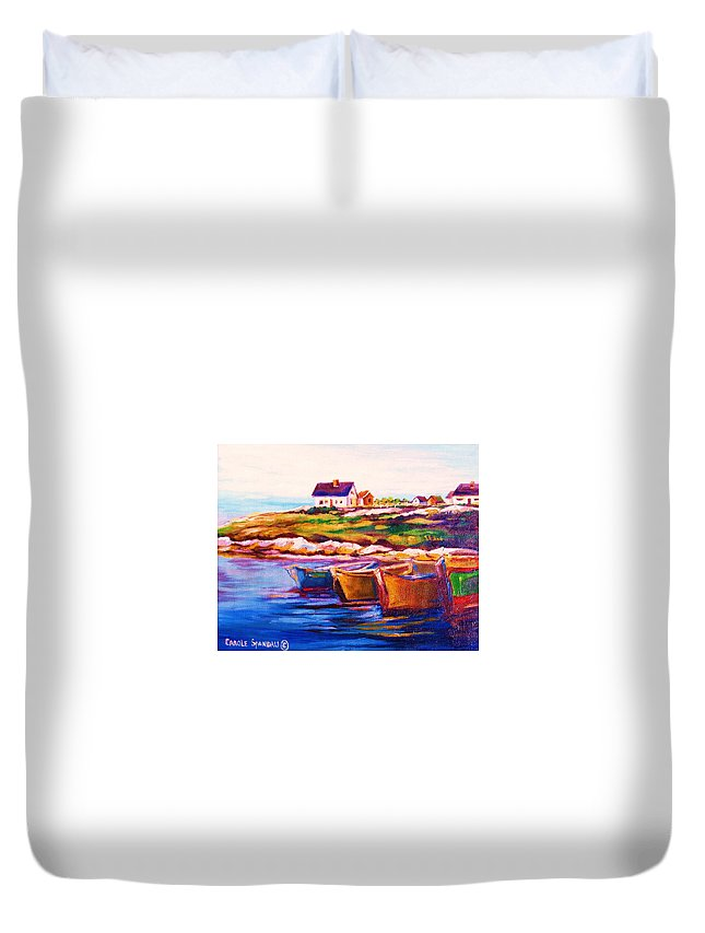 Row Boats Duvet Cover featuring the painting Peggys Cove Four Row Boats by Carole Spandau