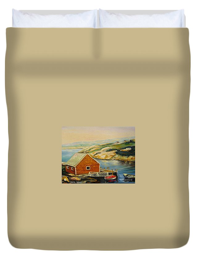 Peggy's Cove Harbor View Duvet Cover featuring the painting Peggys Cove Harbor View by Carole Spandau