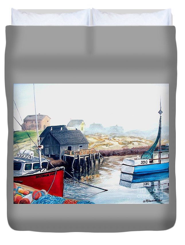 Peggys Cove Duvet Cover featuring the painting Peggy's Cove Harbour by Patricia L Davidson