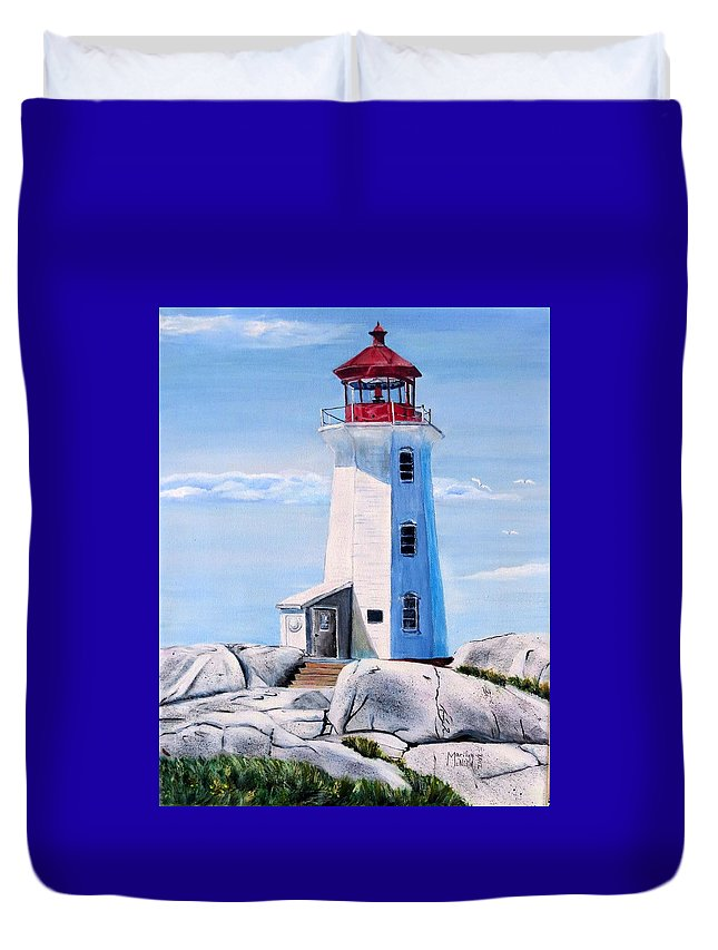 Peggy's Cove Duvet Cover featuring the painting Peggy's Cove Lighthouse by Marilyn McNish