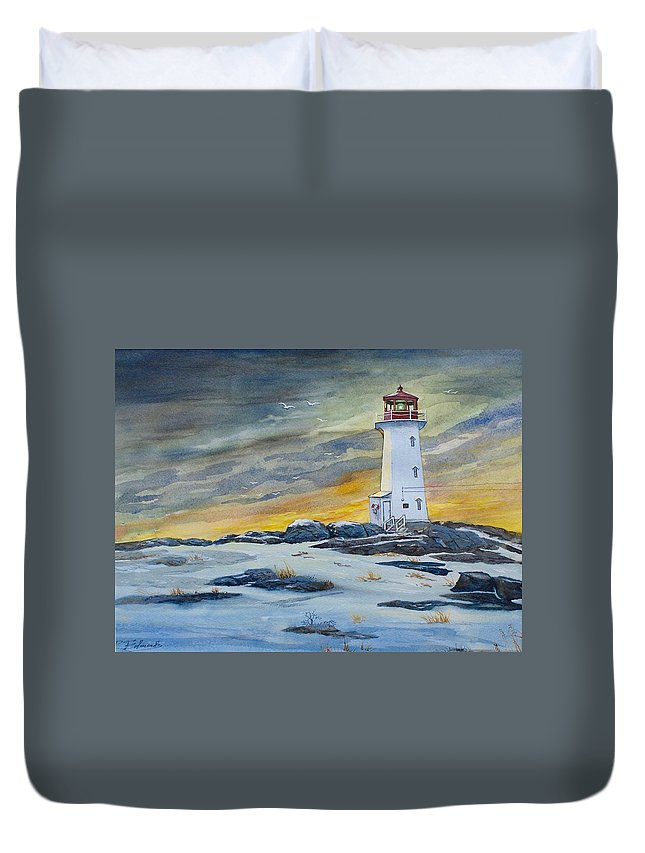 Peggy's Cove Lighthouse Duvet Cover featuring the painting Peggy's Cove Lighthouse by Raymond Edmonds