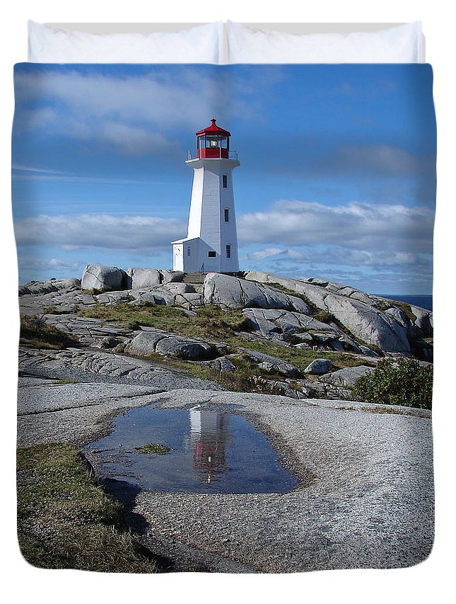 Seascape Duvet Cover featuring the photograph Peggys Cove Nova Scotia Canada by Heather Coen