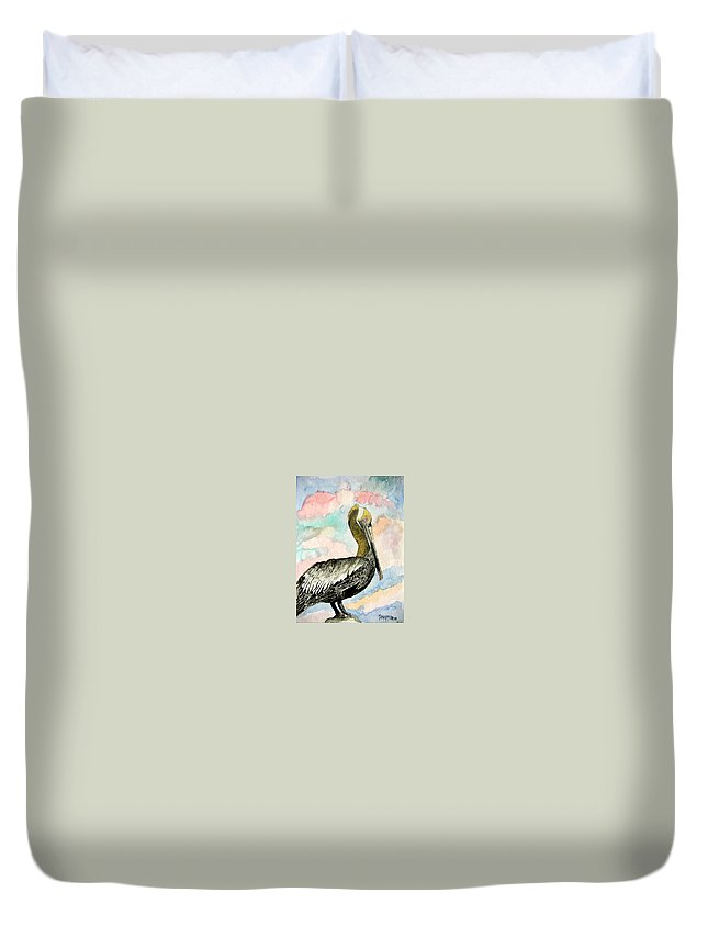 Watercolor Duvet Cover featuring the painting Pelican 2 by Derek Mccrea