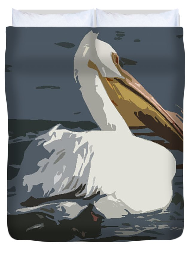 Pelican Duvet Cover featuring the photograph Pelican Cut Out by Heather Coen