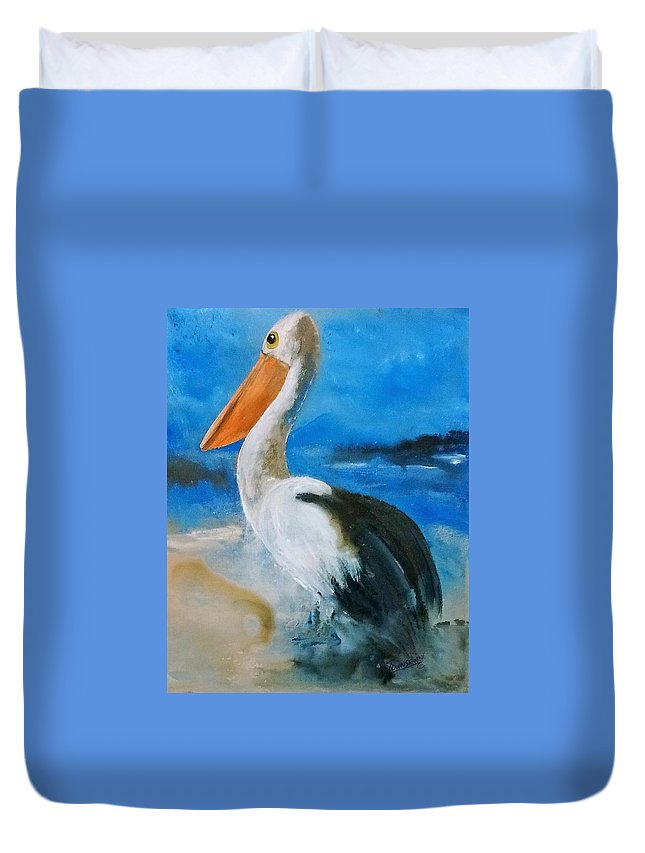 Pelican Duvet Cover featuring the painting Pelican Drip by Connie Townsend