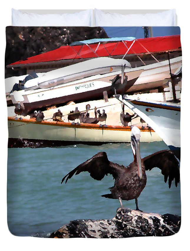 Pelican Duvet Cover featuring the photograph Pelican Drying Wings by Bibi Rojas