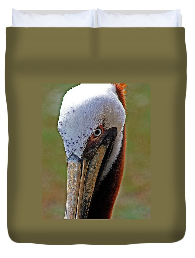 Pelican Duvet Cover featuring the painting Pelican Head by Michael Thomas