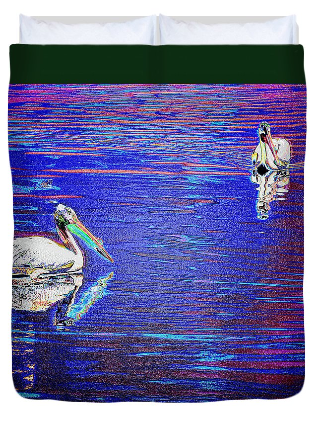 Pelican Duvet Cover featuring the photograph Pelican Mates 2 by Terry Anderson