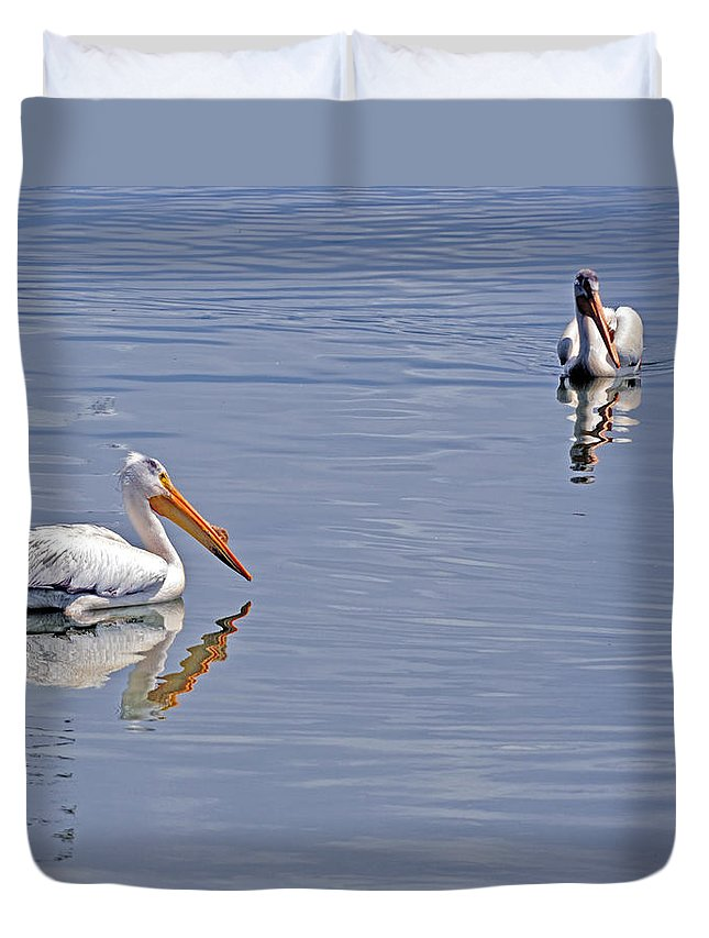Pelican Duvet Cover featuring the photograph Pelican Mates by Terry Anderson