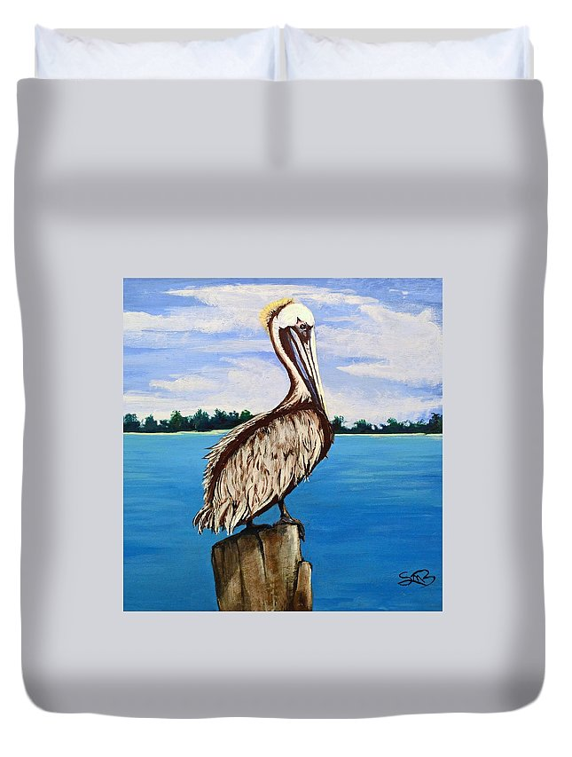 Louisiana Duvet Cover featuring the painting Pelican On Post 2 by Stephen Broussard