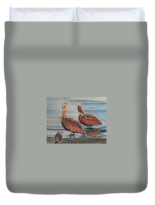 Pelicans Duvet Cover featuring the painting Pelican Party by Karen Ilari