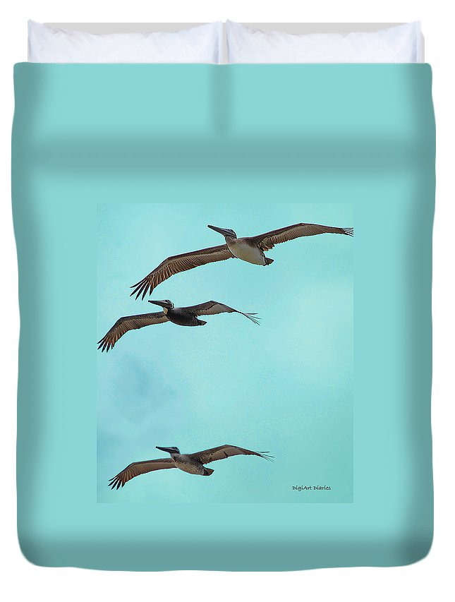 Pelican Duvet Cover featuring the digital art Pelican Trio by DigiArt Diaries by Vicky B Fuller