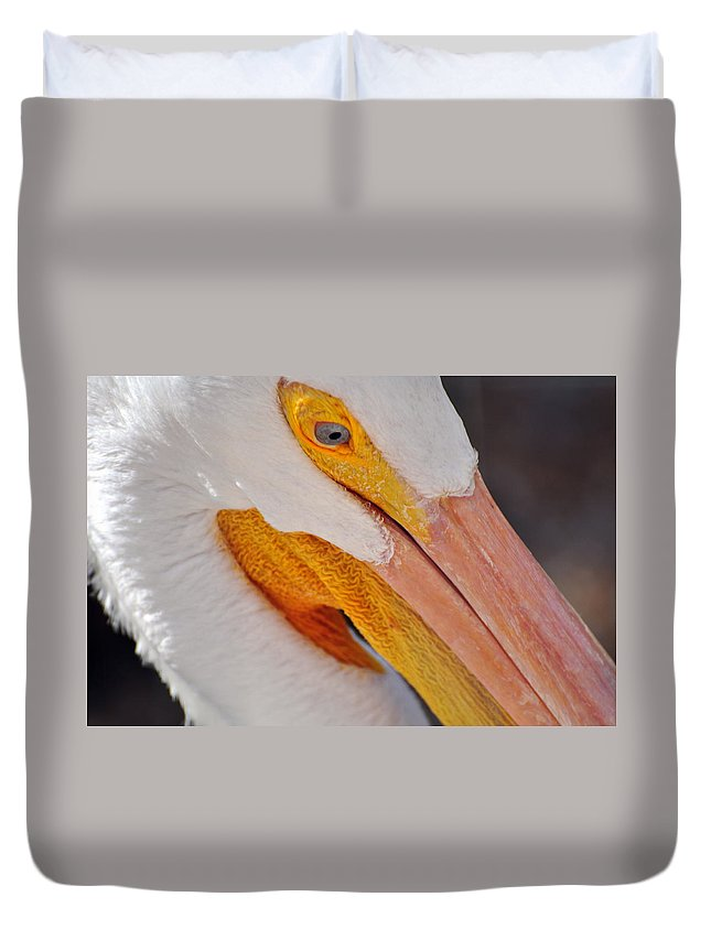 White Pelican Duvet Cover featuring the photograph Pelican Twist by Marty Koch