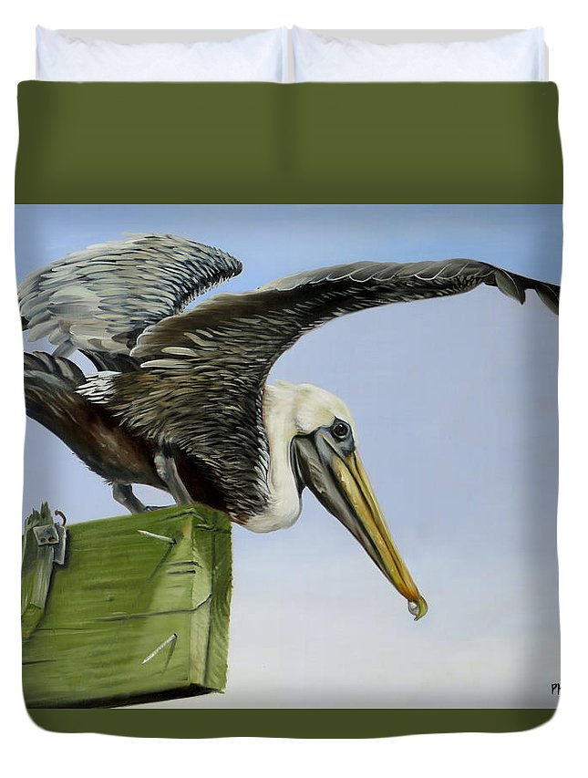 Bird Duvet Cover featuring the painting Pelican Wings by Phyllis Beiser