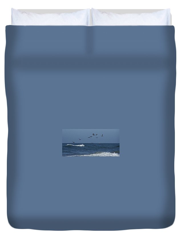 Pelicans Duvet Cover featuring the photograph Pelicans Over The Atlantic by Teresa Mucha