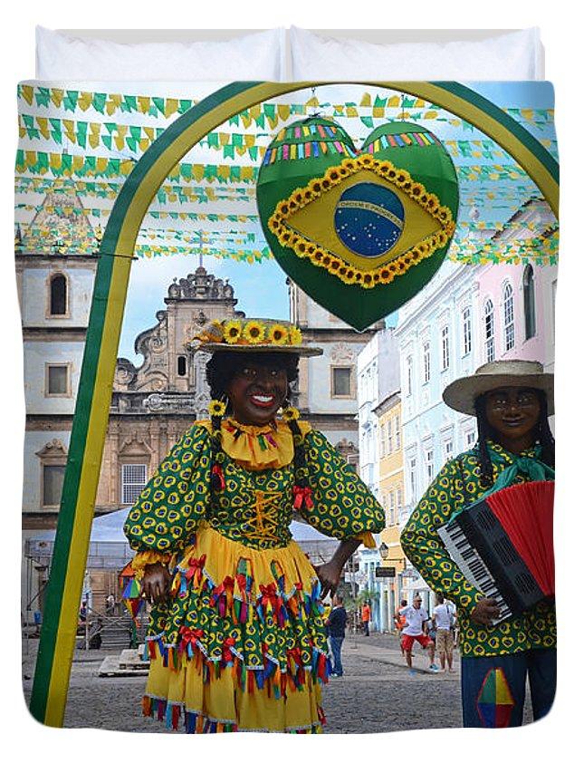 Pelourinho Duvet Cover featuring the photograph Pelourinho - Historic Center Of Salvador Bahia by Ralf Broskvar