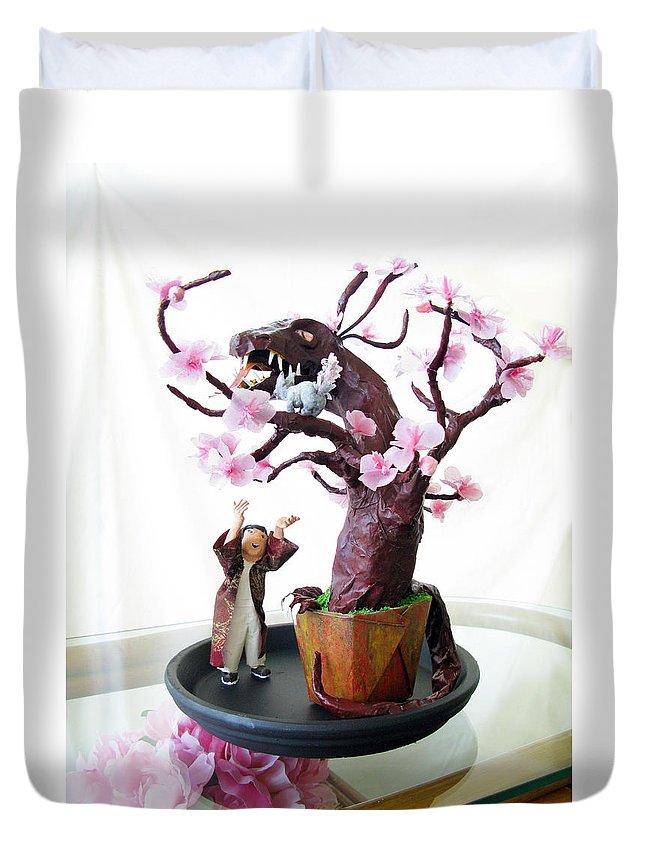 Plum Duvet Cover featuring the sculpture Pen-jing Dragon Plum Tree by Francesa Miller