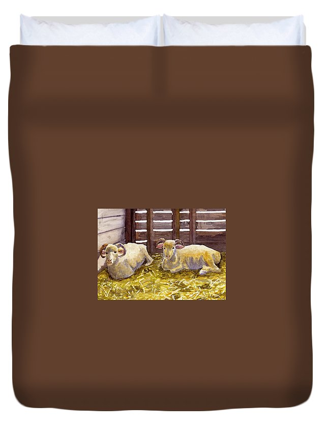 Sheep Duvet Cover featuring the painting Pen Pals by Sharon E Allen