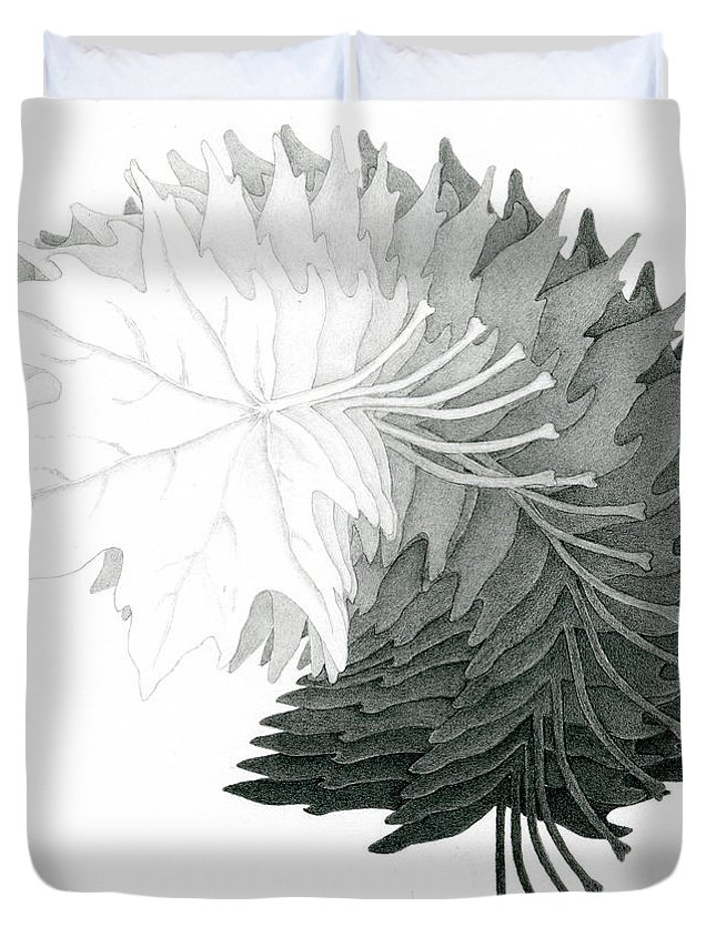Drawing Duvet Cover featuring the drawing Pencil Drawing Of Maple Leaves by Karla Beatty