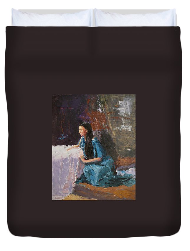 Sitting Woman Duvet Cover featuring the painting Penelope by Irena Jablonski