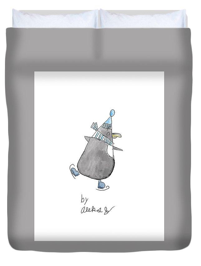 Penguin Duvet Cover featuring the digital art Penguin By Aleks by Terry Jachimiak II