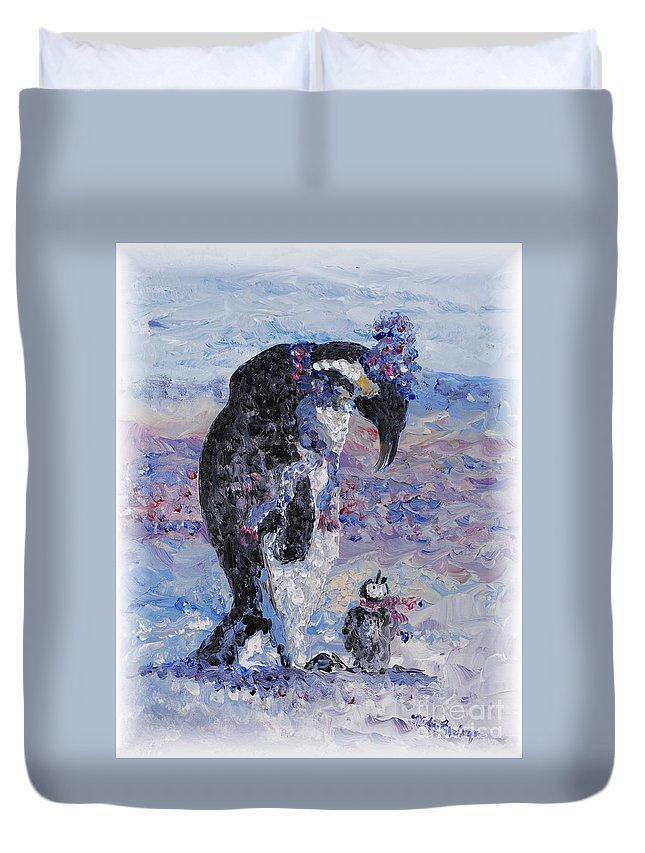 Penguins Winter Snow Blue Purple White Duvet Cover featuring the painting Penguin Love by Nadine Rippelmeyer