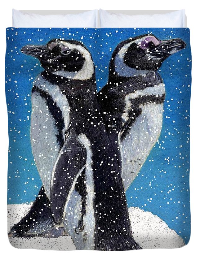 Snow Duvet Cover featuring the painting Penguins In The Snow by Patricia Barmatz