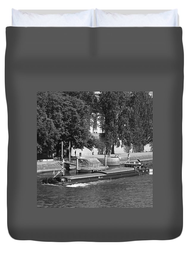 Architecture Duvet Cover featuring the photograph Peniche On River Seine by Cheryl Miller