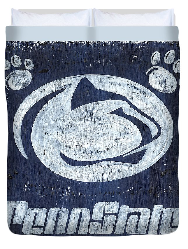 Penn State Duvet Cover featuring the painting Penn State by Debbie DeWitt