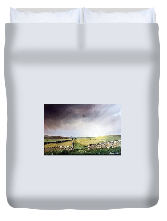 Landscape Duvet Cover featuring the painting Pennine Way by Paul Dene Marlor