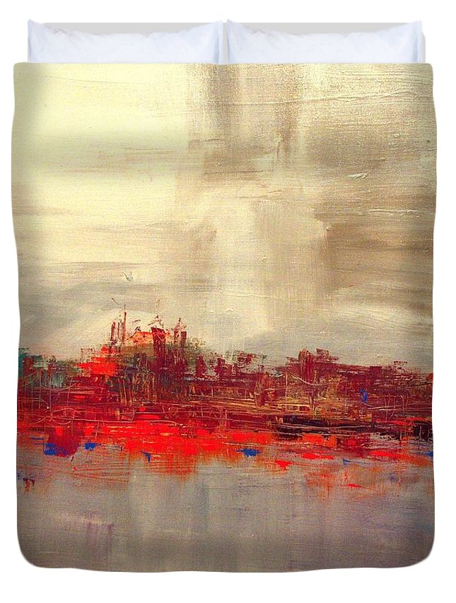 Duvet Cover featuring the painting Penn's Landing by Lilliana Didovic
