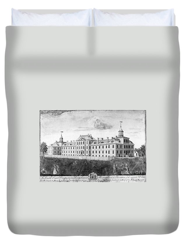 1755 Duvet Cover featuring the photograph Pennsylvania Hospital, 1755 by Granger