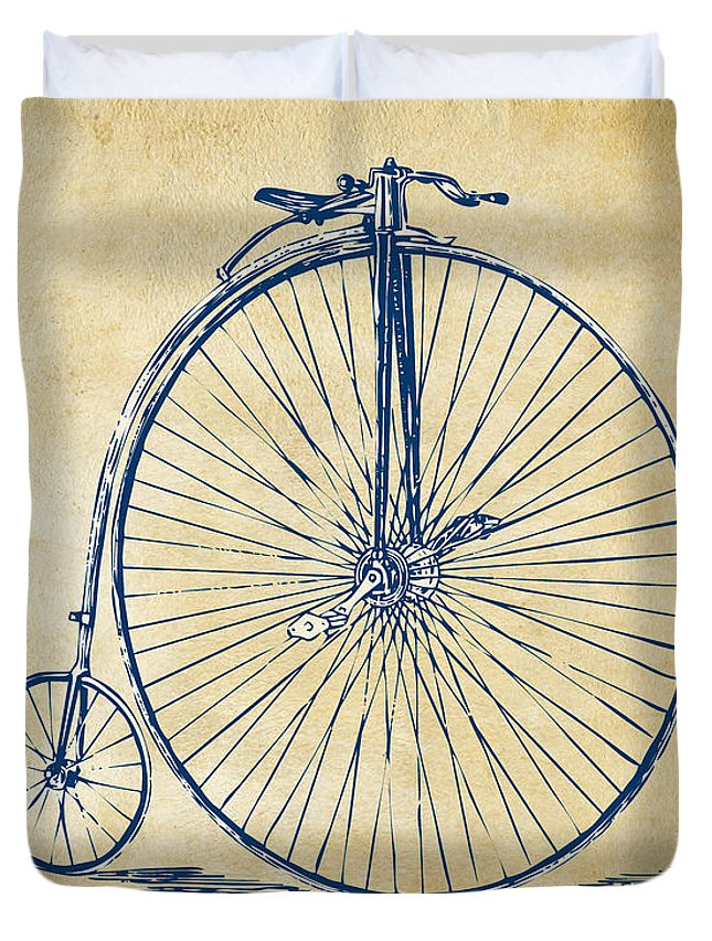 Penny-farthing Duvet Cover featuring the digital art Penny-farthing 1867 High Wheeler Bicycle Vintage by Nikki Marie Smith
