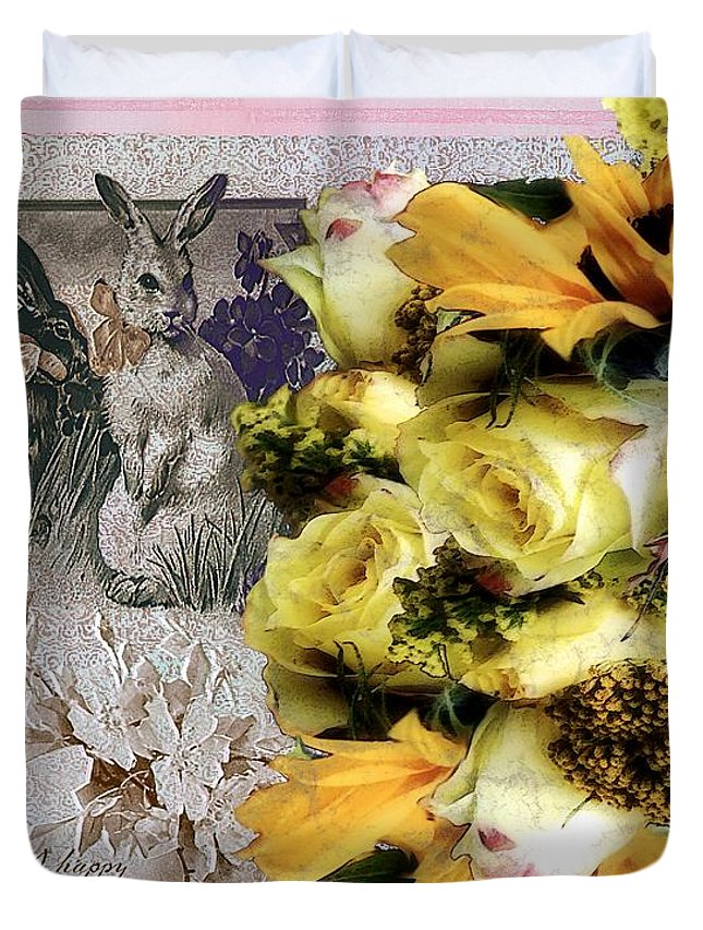 Bouquet Duvet Cover featuring the painting Penny Postcard Easter by RC DeWinter