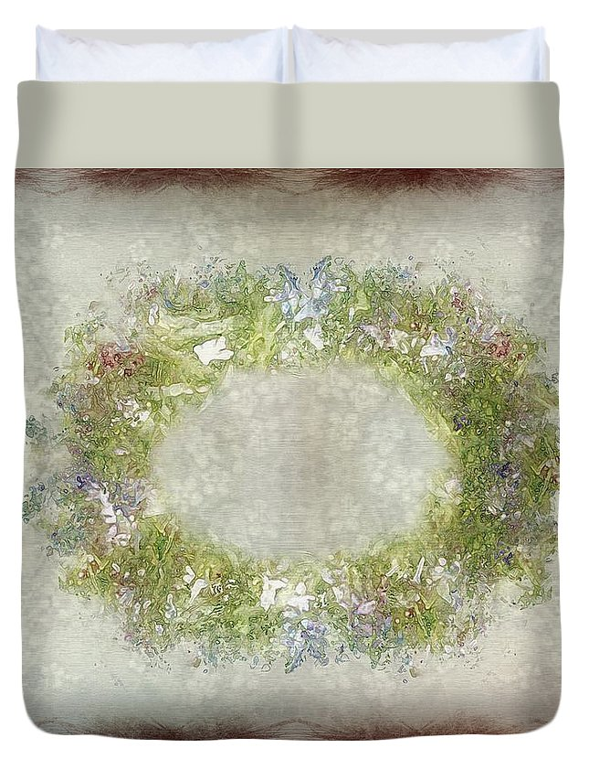 Flowers Duvet Cover featuring the painting Penny Postcard Rustic by RC DeWinter