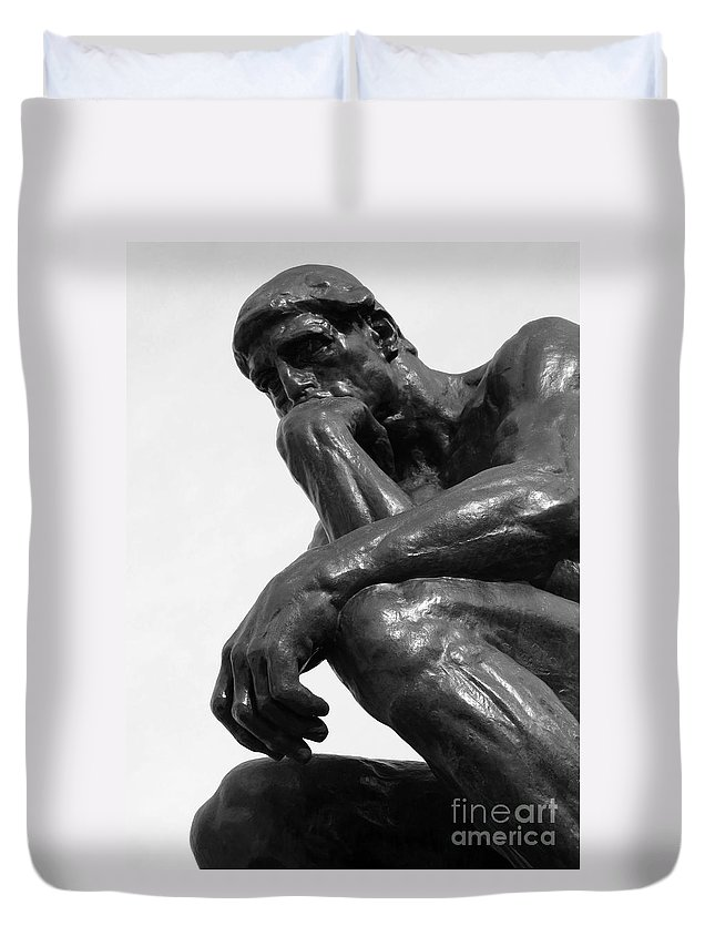 The Thinker Duvet Cover featuring the photograph Pensive by Ann Horn