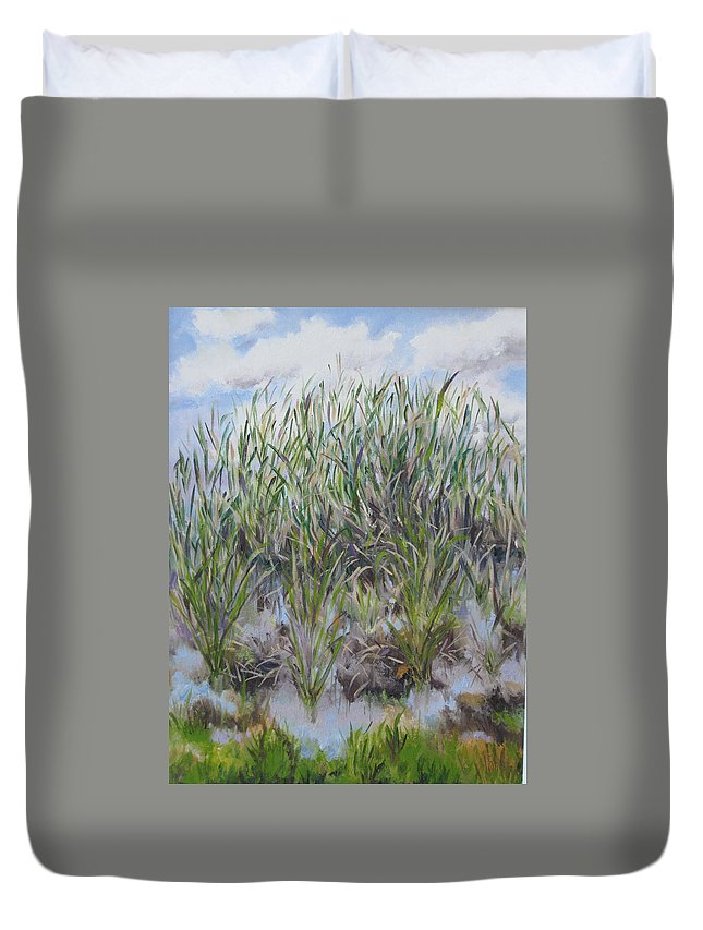 Landscape Duvet Cover featuring the painting Pensive Grasses by Lisa Boyd