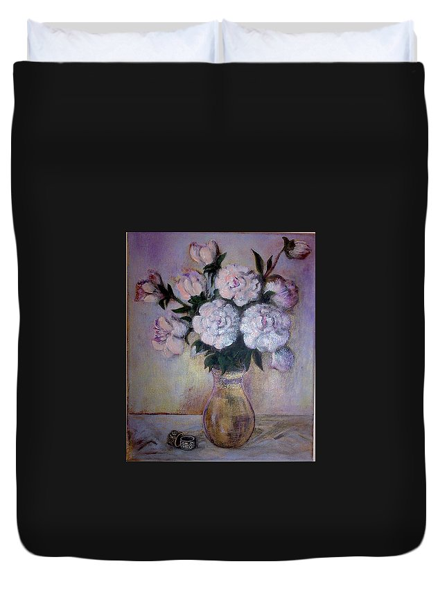 Duvet Cover featuring the painting Peonies And Rings by Vi Sarancha