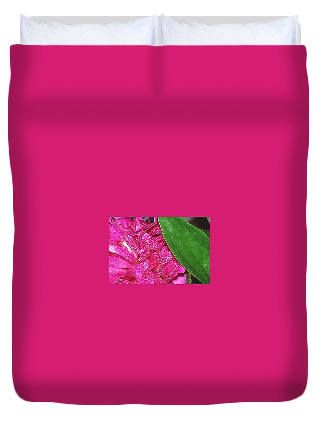 Peony Duvet Cover featuring the photograph Peony And Leaf by Nancy Mueller