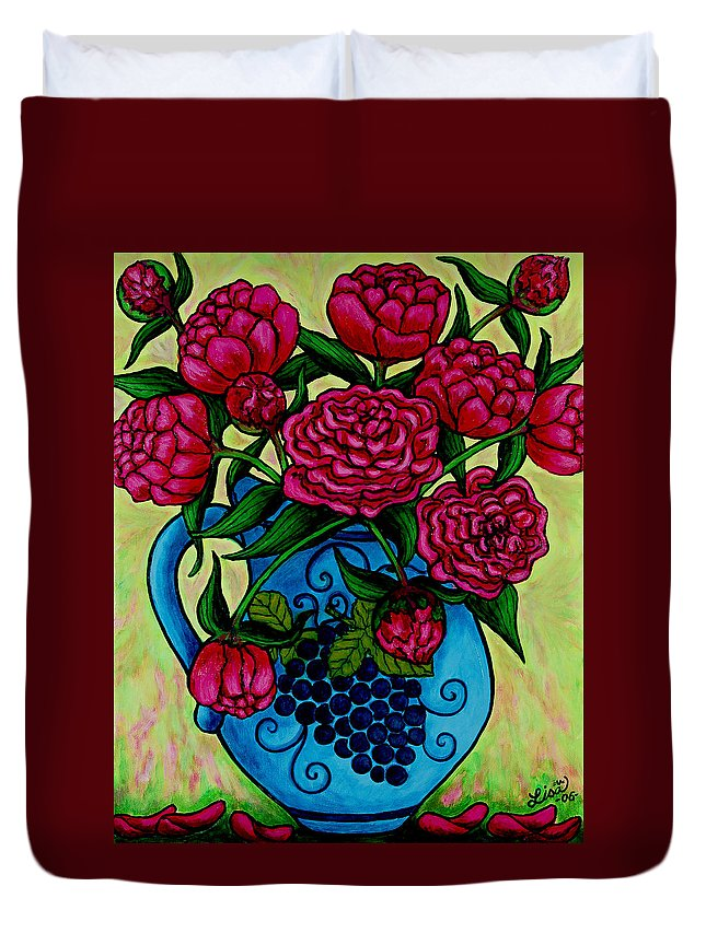 Peonies Duvet Cover featuring the painting Peony Party by Lisa Lorenz